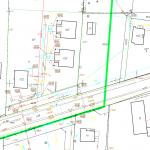 przykład mapy z inwentaryzacją geodezyjną trzech budynków dwulokalowych